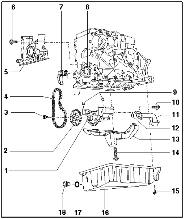 audi 1 8 t 20v lubrication system  u2013 exploded view of